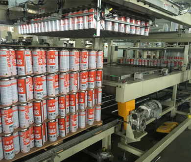 automatic aerosol can packing