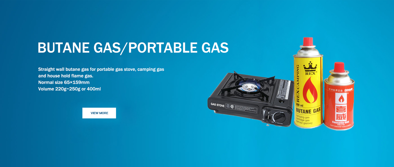 Butane gas for portable gas stove